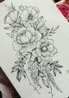 Creative Ways Sunflower Tattoo on Shoulder Sunflowers O . - Creative Possibilities sunflower tattoo on shoulder sunflower thigh 76 - Tatoo Flowers, Flower Tattoo Drawings, Peonies Tattoo, Flower Tattoo Designs, Tattoo Sketches, Drawing Flowers, Floral Drawing, Peony Flower Tattoos, Painting Flowers