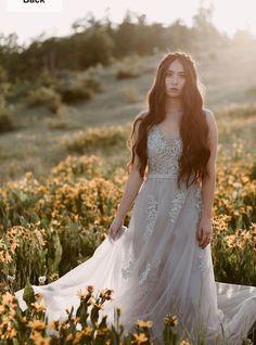 6649af76750d Grey V Neck Sleeveless Lace Applique Prom Dresses A Line Evening Dress