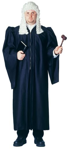 WHITE ADULT JUDGE WIG BARRISTER LAWYER COURT JUDGES FANCY DRESS