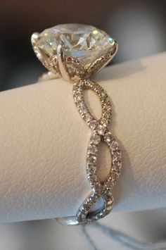 Okay girlfriends, this is THE ONE to tell Brian about! I LOVE, LOVE, LOVE THIS ONE!!! The infinity symbol has a lot of meaning to us. It's PERFECT! infinity symbol on an engagement ring or wedding ring #diamond_ring #infinity #wedding_ring #engagement_ring | best stuff