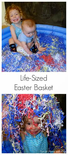 Life-Sized Easter Basket from Fun at Home with Kids - this looks fun, I kinda wish I had a kiddie pool for stuff like this! Easter Activities, Spring Activities, Easter Crafts For Kids, Sensory Activities, Sensory Play, Toddler Activities, Easter Ideas, Sensory Diet, Holiday Activities