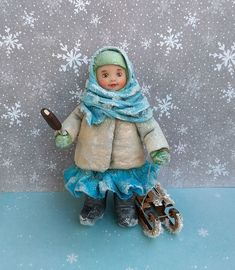 Antique Dolls, Vintage Toys, Miniatures, Wool, Antiques, Christmas, Cotton, Hands, Winter Christmas