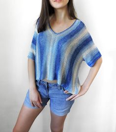 41$ Pure bamboo yarn crop top Blue knit by IrensKnitting