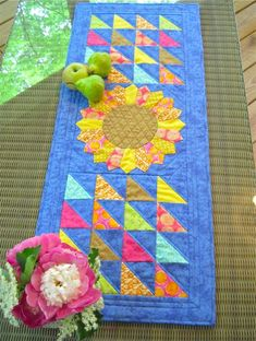 Sunflower Summer Table Runner Quilt- love the yellow and blue! From the Color Mastery monthly series.