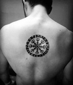 Center Of Back Helm Of Awe Tattoo Designs For Guys