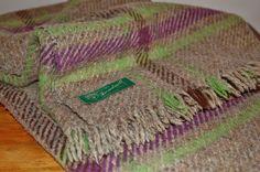 Tweedmill Plaid Wool Blanket, Heathered Brown Grey Purple Green Brown Tartan Plaid Fringed Wool Throw, British Picnic, Lap Stadium Blanket