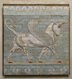 This relief of enameled, polychrome bricks found at Susa is of a winged bull passant between two friezes of rosettes and palmettes. The bull is the symbol of the constructive force of the Achaemenian Persian empire. Ancient Mesopotamia, Ancient Civilizations, Ancient History, Art History, Perse Antique, Objets Antiques, Achaemenid, Inka, Ancient Persian