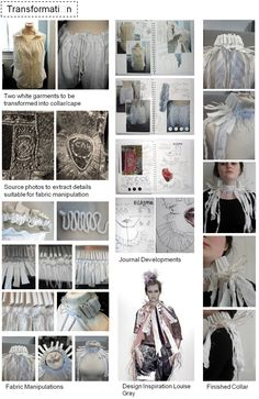 Textiles Fashion Sketchbook - Transformation project with fabric manipulation experiments; fashion design & development; the fashion design process // Beth Hey