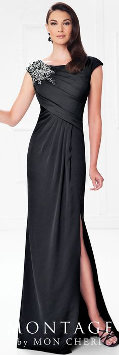 Formal Evening Gowns by Mon Cheri - Spring 2017 - Style No. 117923 - black evening dress with cap sleeves and side slit