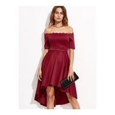 SheIn(sheinside) Burgundy Scallop Off The Shoulder High Low Skater... (84 ILS) ❤ liked on Polyvore featuring dresses, burgundy, off the shoulder dress, red dress, burgundy party dress, burgundy skater dress and short sleeve dress