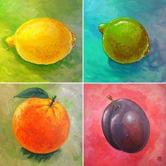 Wandgestaltung - 4er Serie Früchte als Leinwanddruck - ein Designerstück von LeinwandKacheln bei DaWanda