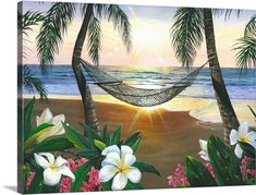 Seascape Paintings, Landscape Paintings, Beach Paintings, Rose In A Glass, Murals Your Way, Hawaiian Art, Disney Artists, Tropical Art, Tropical Plants
