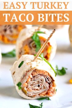 Turkey Taco Bites combine classic taco flavors with sliced turkey all rolled up into a bite sized morsel of deliciousness! Quick And Easy Appetizers, Yummy Appetizers, Appetizer Recipes, Cheap Appetizers, Diy Party Food, Best Party Food, Cheap Party Food, Party Snacks, Ideas Party