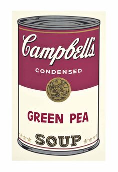 Green Pea, from Campbell's Soup I by ANDY WARHOL (1928-1987) #AndyWarhol #Art #ARTSTAGRAM