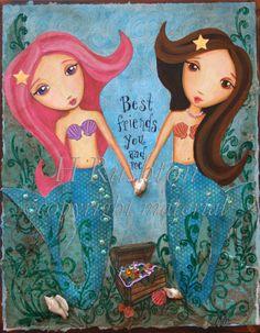 whimsical+mermaid | Mermaid Art -Children Decor- Mixed Media- Art Print- Whimsical 8x10