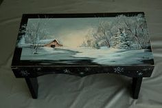 Painting by Ross Stallcup So different from usual Ros paintings. Rustic Painted Furniture, Painted Chairs, Tole Painting Patterns, Country Paintings, Painted Books, Christmas Paintings, Art Techniques, Beautiful Paintings, Painting Inspiration