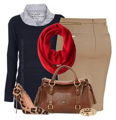 Navy Sweater, Red Scarf by uniqueimage on Polyvore featuring ONLY, Frank & Eileen, Blumarine, Kurt Geiger, Dooney & Bourke, Chanel and Calvin Klein