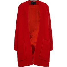 Derek Lam Red Boucle Collarless Swing Coat found on Polyvore featuring outerwear, coats, jackets, coats & jackets, swing jacket, fur-lined coats, derek lam coat, wrap coat and derek lam