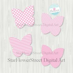 Butterfly Decorations Baby Shower party Printable cut out pink digital download girl birthday instant download butterflies patterns diy by StarFlowerStreetDA