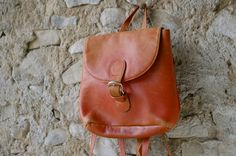 French vintage red distressed leather backpack bag by trilogie, $76.00