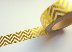 Gold Foil Washi Tape 1 Roll of Gold Chevron Paper Washi Tape Each tape measures 15mm x 10m This tape is great quality and is perfect for crafts, gift wrapping, wedding stationery and more.