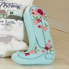 our ode to all things vintage cowgirl...Junk Gypsy Prairie Cowgirl Boot Pillow