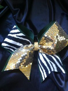 Zebra with with Gold Sparkle Sequin on Evergreen Ribbon