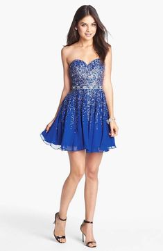 0eaf4ac1a60 Sherri Hill Embellished Sweetheart Fit   Flare Silk ROYAL BLUE SIZE 12  205   SherriHill