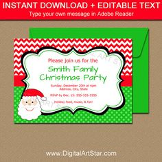 Christmas Party Invitations with Santa