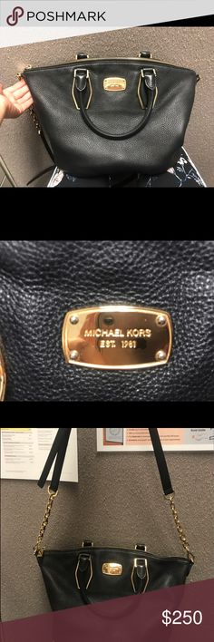 Michael Kors purse Absolutely love love love this purse but I need a bigger work bag:( it's less than a year old and in really good condition. Adjustable straps that can be removed if you wanted to. Black interior with 2 large pockets and 4 mini ones! Michael Kors Bags Shoulder Bags