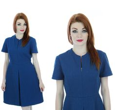 60s Pleated Dress Mod 70s Retro Blue Front by neonthreadsdesigns, $32.00