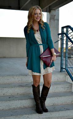 11/10/17 - Work/Blueprint/Intake (White lace dress, green drapey cardigan, brown riding boots, teapot earrings)