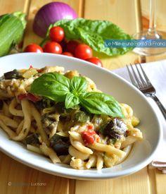 Fileja alla tropeana - Italian region of Calabria (Tropea); Ingredients: fileja (homemade pasta), zucchini, eggplant, tomatoes, red onion, extra virgin olive oil, salt, basil, chili