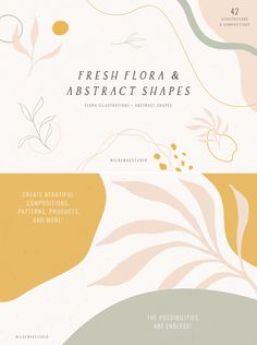 Fresh Flora & Abstract Shapes is a collection of hand drawn flora illustrations + abstract shapes perfect for logo design, packaging, styling quotes, so Mail Design, Web Design, Logo Design, Layout Design, Branding Design, Happy Design, Type Design, Burger Illustration, Mood Board Fashion