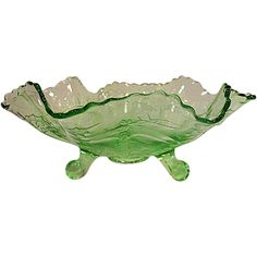 Green Depression Glass Stag and Holly Footed Bowl