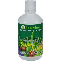Real Aloe Aloe Vera Super Juice - 32 fl oz - Real Aloe Inc Aloe Vera Super Juice Description:    Organically Grown  No Bitter Taste Our new flavored Aloe vera juice is a premium aloe product with a great taste. It is comprised of a quality blend of 5 all Natural concentrated fruit juices. The blend we have selected includes Pomegranate Cranberry Black Cherry Concord Grape and White Grape juices. We have carefully selected these juices for their concentrations of vitamins minerals amino…