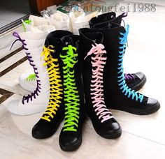 Black Canvas Boots for Women Girls Sale Cheap Quality Sneakers Shoes knee high