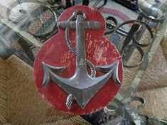 Your place to buy and sell all things handmade Vintage Nautical, Nautical Anchor, Antique Pewter, Red Paint, Three Dimensional, Painting On Wood, Repurposed, Antiques, Decoration