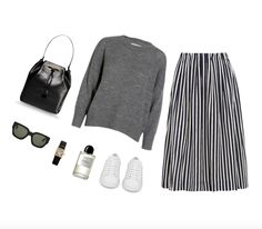 Black and white striped skirt, grey sweater, white sneakers Fall Outfits, Casual Outfits, Fashion Outfits, Grey Fashion, Fashion Beauty, Capsule Wardrobe Work, J Crew Skirt, Personal Style, Closet Tour