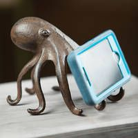 Tv Tray Set, Her Cast, Nautical Home, Cell Phone Holder, Phone Stand, Coastal Decor, Octopus, Accent Decor, Cast Iron