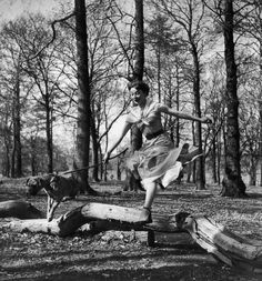Frolicking in the park with pre-fame Audrey Hepburn