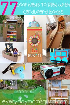 This are fun and genius crafts that kids can do with cardboard boxes. #kidscrafts #cardboardboxcrafts #craftsforkids #kidsactivities #cardboardcrafts Cardboard Box Houses, Cardboard Car, Cardboard Box Crafts, Cardboard Playhouse, Cardboard Furniture, Cardboard Box Ideas For Kids, Cardboard Castle, Educational Activities For Kids, Outdoor Activities For Kids