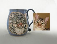 Choose the custom option in my cat loaf mug listing. It is a handmade mug that is hand painted with glazes. This is a permanent, dishwasher and microwave safe mug. You can also contact me through my email. susanaltenau@gmail.com All Black Cat, Name Mugs, Cat Mug, Great Birthday Gifts, Pottery Mugs, Dog Portraits, Ceramic Mugs, Cat Gifts, Microwave