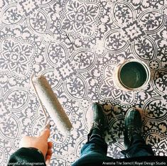 Painted Tile Floor Stencils that Anyone Can Do! 16 DIY Decorating Ideas for Floor Remodeling - Royal Design Studio Tile Stencils and Floor Stencils Painting Tile Floors, Painting Concrete, Stencil Painting, Tile Stencils, Floor Stencil, Large Stencils, Stenciled Concrete Floor, Painted Concrete Floors, Concrete Patio