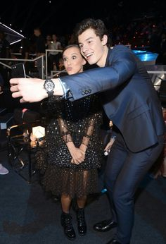 Millie Bobby Brown and Shawn Mendes at MTV Video  Music  Awards 2017