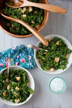 Massaged Kale Caesar Salad | Annie's Eats