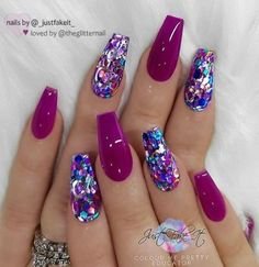 There are three kinds of fake nails which all come from the family of plastics. Acrylic nails are a liquid and powder mix. They are mixed in front of you and then they are brushed onto your nails and shaped. These nails are air dried. Sparkly Nails, Fancy Nails, Cute Nails, Purple Glitter Nails, Glitter Nail Art, Magenta Nails, Purple And Pink Nails, Purple Sparkle, Bright Nails