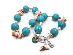 SALE Mermaid Necklace Turquoise Howlite Shell Pearl