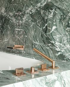 Beautiful bathroom inspiration for one of our projects, Mayfair - Family Apartment Baths Interior, Home Interior Design, Bathroom Inspiration, Interior Inspiration, Brand Inspiration, Green Marble Bathroom, Bathroom Goals, Marble Stones, Tile Patterns