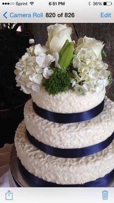 White Scrolls & Blue Satin Wedding Cake